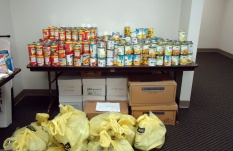 Canned goods, including canned fruit, spaghetti, vegetables